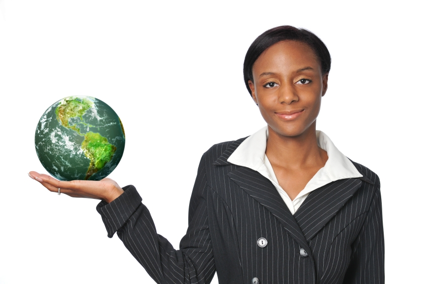 Young African American Businesswoman holding the earth